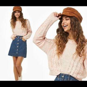 Cream cotton blend knit crop sweater